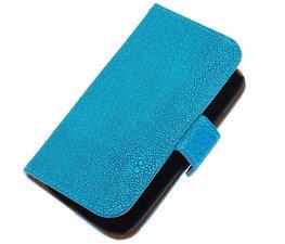 Blauw Ribbel booktype wallet cover hoesje voor HTC Desire 700