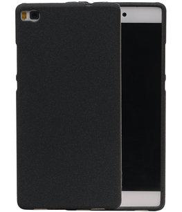 Zwart Zand TPU back case cover voor Hoesje voor Huawei P8