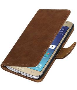 Bruin Hout booktype wallet cover voor Hoesje voor Samsung Galaxy J2 2016