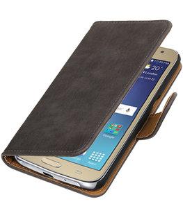 Grijs Hout booktype wallet cover voor Hoesje voor Samsung Galaxy J2 2016