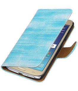 Turquoise Mini Slang booktype wallet cover voor Hoesje voor Samsung Galaxy J2 2016