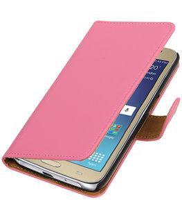 Roze Effen booktype wallet cover voor Hoesje voor Samsung Galaxy J2 2016
