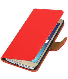Rood Effen booktype wallet cover voor Hoesje voor Samsung Galaxy J2 2016