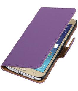 Paars Effen booktype wallet cover voor Hoesje voor Samsung Galaxy J2 2016