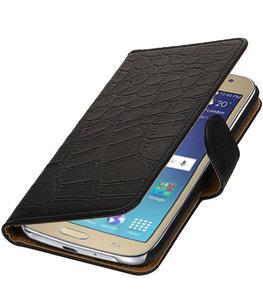 Zwart Krokodil booktype wallet cover voor Hoesje voor Samsung Galaxy J2 2016