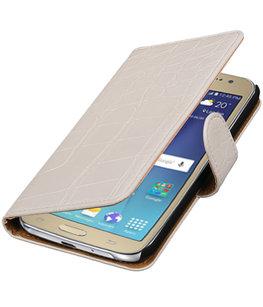 Wit Krokodil booktype wallet cover voor Hoesje voor Samsung Galaxy J2 2016