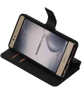 Zwart Hoesje voor Huawei P9 Plus TPU wallet case booktype HM Book