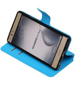 Blauw Hoesje voor Huawei P9 Plus TPU wallet case booktype HM Book