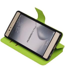 Groen Hoesje voor Huawei P9 Plus TPU wallet case booktype HM Book
