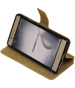 Goud Hoesje voor Huawei P9 Plus TPU wallet case booktype HM Book