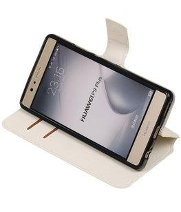 Wit Hoesje voor Huawei P9 Plus TPU wallet case booktype HM Book