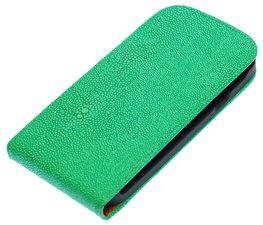 Groen Ribbel flip case cover voor Hoesje voor Samsung Galaxy S Duos S7562