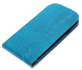 Blauw Ribbel flip case cover voor Hoesje voor Samsung Galaxy S Duos S7562