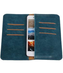 Blauw Pull-up Large Pu portemonnee wallet voor HTC