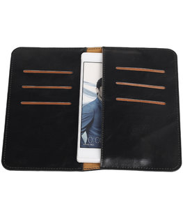 Zwart Pull-up Medium Pu portemonnee wallet voor Huawei