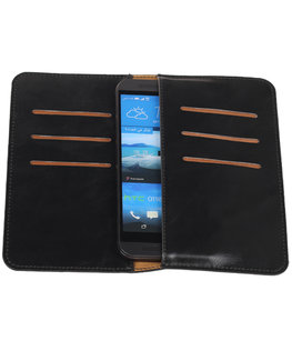 Zwart Pull-up Medium Pu portemonnee wallet voor HTC