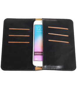 Zwart Pull-up Medium Pu portemonnee wallet voor Samsung
