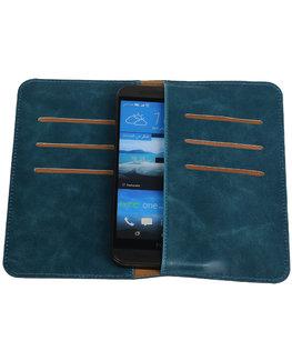 Blauw Pull-up Medium Pu portemonnee wallet voor HTC