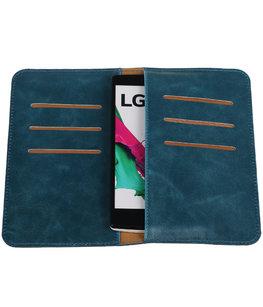 Blauw Pull-up Medium Pu portemonnee wallet voor LG