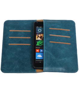 Blauw Pull-up Medium Pu portemonnee wallet voor Microsoft