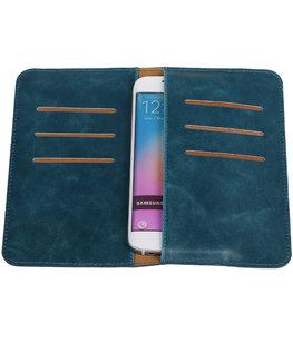 Blauw Pull-up Medium Pu portemonnee wallet voor Samsung