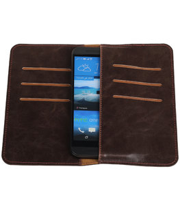 Mocca Pull-up Medium Pu portemonnee wallet voor HTC