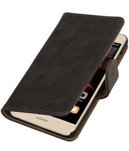 Grijs Hout booktype wallet cover voor Hoesje voor Huawei Y5 II