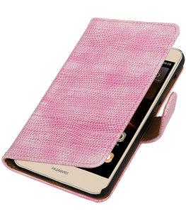Roze Mini Slang booktype wallet cover voor Hoesje voor Huawei Y5 II