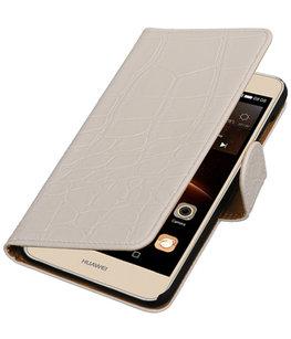 Wit Krokodil booktype wallet cover voor Hoesje voor Huawei Y5 II