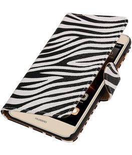Zebra booktype wallet cover voor Hoesje voor Huawei Y5 II