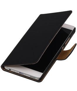 Zwart Effen booktype wallet cover voor Hoesje voor Huawei Honor 3