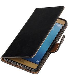 Zwart Pull-Up PU booktype wallet voor Hoesje voor Huawei Honor 5c