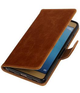 Bruin Pull-Up PU booktype wallet voor Hoesje voor Huawei Honor 5c