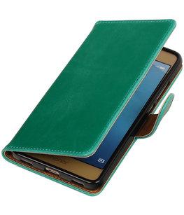 Groen Pull-Up PU booktype wallet voor Hoesje voor Huawei Honor 5c