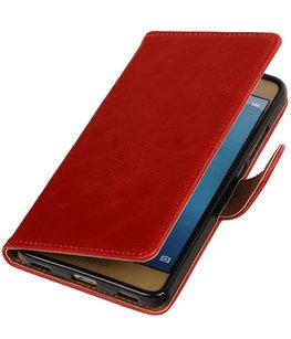 Rood Pull-Up PU booktype wallet voor Hoesje voor Huawei Honor 5c