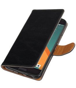 Zwart Pull-Up PU booktype wallet voor Hoesje voor HTC 10