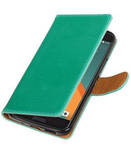 Groen Pull-Up PU booktype wallet voor Hoesje voor HTC 10