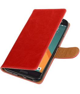 Rood Pull-Up PU booktype wallet voor Hoesje voor HTC 10