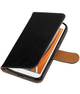 Zwart Pull-Up PU booktype wallet voor Hoesje voor Motorola Moto G4 / G4 Plus