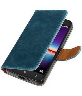 Blauw Pull-Up PU booktype wallet voor Hoesje voor Huawei Y3 II