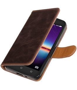 Mocca Pull-Up PU booktype wallet voor Hoesje voor Huawei Y3 II