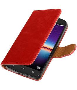 Rood Pull-Up PU booktype wallet voor Hoesje voor Huawei Y3 II
