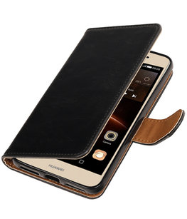 Zwart Pull-Up PU booktype wallet voor Hoesje voor Huawei Y5 II