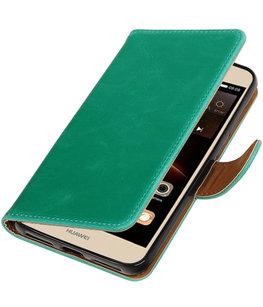 Groen Pull-Up PU booktype wallet voor Hoesje voor Huawei Y5 II