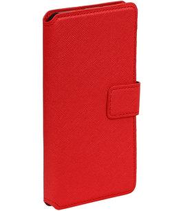 Rood Hoesje voor Motorola Moto G4 / G4 Plus TPU wallet case booktype HM Book