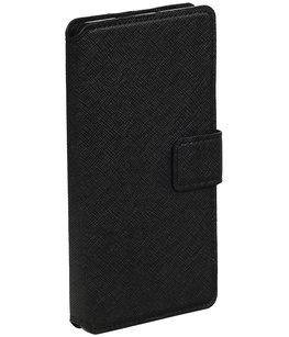 Zwart Hoesje voor Huawei P8 TPU wallet case booktype HM Book