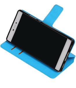 Blauw Hoesje voor Huawei P8 TPU wallet case booktype HM Book