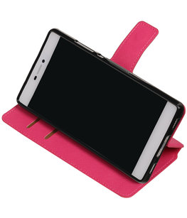 Roze Hoesje voor Huawei P8 TPU wallet case booktype HM Book