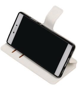 Wit Hoesje voor Huawei P8 TPU wallet case booktype HM Book