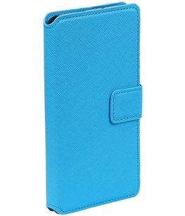 Blauw Hoesje voor Sony Xperia C6 TPU wallet case booktype HM Book